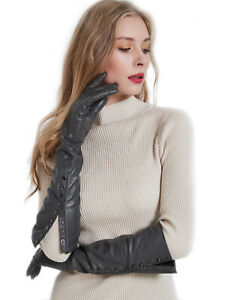 wowmen elbow long real leather evening long open buttons gloves three colors