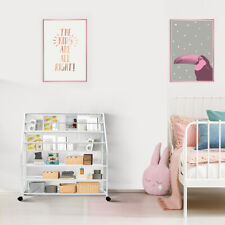 Kids 6 Tier Bookcase Metal Wire Storage Shelf Display Bookshelf Magazine Rack