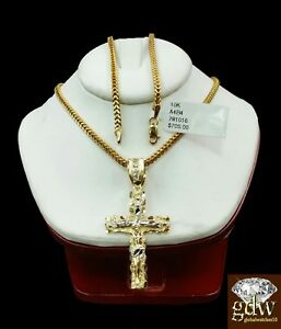 "10k Gold 20"" Franco chain 10k cross pendant Set REAL 10kt Yellow Necklace Charm"