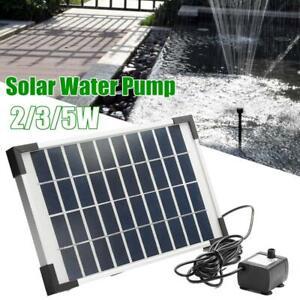 2/3/5W Solar Panel Water Pump Kit Fountain Garden Pond Pool Watering Submersible
