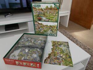 Falcon De Luxe 2 x 1000 piece jigsaw puzzles - Village Life - Fiona Osbaldstone