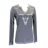 Cowgirl Hardware Women's Heather Grey Vine Steer Skull Tee 215351-044