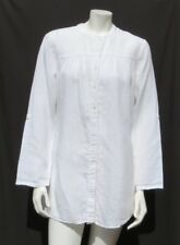 CHICO'S Natural White 100% Linen Long Roll Tab Sleeves Shirt Tunic Top sz 1 8 10