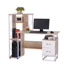 HOMCOM Computer Desk 2 Drawers Multi-Shelves Study Workstation PC Table Office