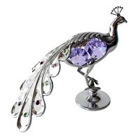 Crystocraft Peacock Crystal Ornament Swarovski Elements Gift Boxed Lilac Silver