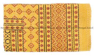 Indian Ajrak Hand Block Kantha Quilt Cotton Handmade Bedspread Throw King Size