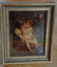 Rarissime F DELOBBE peinture sous verre églomisée ROMANTISME école fançaise 1892