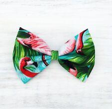 """Tropical Aqua Azul, Verde Con Rosa Flamingo impresión 4"""" Pin Up Clip Cabello Moño"""