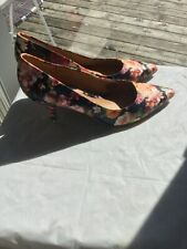 Nine West Women's Floral Shoes Size 8m Slip On Pointed Toe Stiletto Heels excell