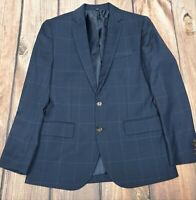 J Crew Thompson Mens Blue Windowpane Stretch Wool Suit Jacket Blazer 36S