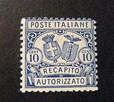"""ITALIA, ITALY REGNO 1928 Recapito Autorizzato """"Stemmi in ovale"""" 10c D.11 VLH*"""
