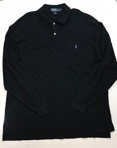 Mens Polo Ralph Lauren Long Sleeve Polo, XLT, Black