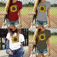 Women's Sleeve Short Graphic O-Neck Casual Blouse Print Sunflower T-Shirt Tops