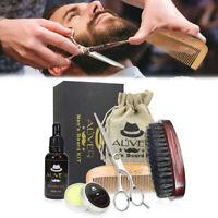 Kit Mustache Care Wood Comb Beard Wax Oil Boar Bristle Brush Beard Grooming Set.