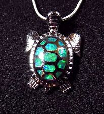 Cute Sterling 925 Silver SF Pendant & Necklace Green Lab Fire Opal TURTLE   1""