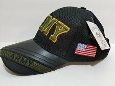 U.S. Warriors Men's Army  Cap Hat leather velcro black mesh green breathable
