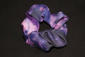 Amazing 80's Style Dark Purple Large Hair Scrunchie w Pink Blurry Print (S369)