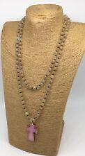 Fashion long knot Yellow stone cross pendant woman necklace holiday gift
