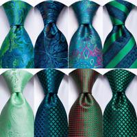 Mens Tie Silk Necktie Blue Navy Green Black Red Geometric Striped Hanky Business