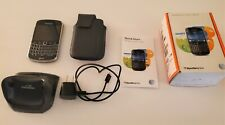 BLACKBERRY BOLD 9900 AT&T Phone OEM Leather Case Box Manual Charger Cable, Stand