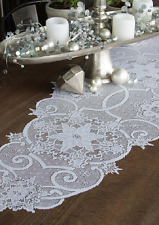 "Heritage Lace WHITE SNOWFLAKE 19""x65"" Christmas, Winter Table Runner"
