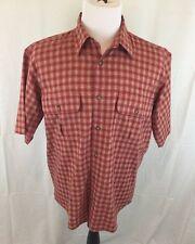 Cabelas Men's Medium Burnt Orange Button Front Short Sleeve Shirt