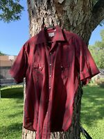 1980s Western Shirt Short Sleeve Red Striped Mens Size L Vintage Made In Usa