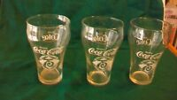 Set of 3 Vintage Coca-Cola 75th Anniversary Logo Glasses, Bell Shaped, Clear