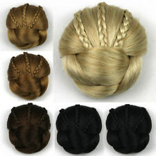 Lady's Braided Bun Chignon Donut Updo Cover Clip in Twist Braids Hair Extensions