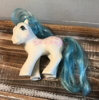 Vintage 1987 My Little Pony Fifi Perm Shoppe White Blue Hair Pink Bows Hasbro
