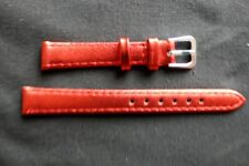 12mm RED -Metallic-Colour-Calf-Grain-Leather Ladies Watch Strap
