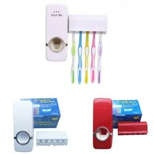 Hands Free Automatic Toothpaste Dispenser Squeezer & Brush Holder Set w/ Mount