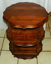 Solid Walnut 3 Tier Pie Crust End Table / Side Table  (T333)