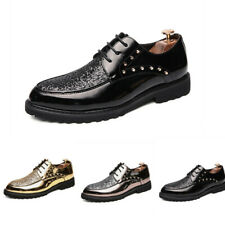 Mens Sequin Lace Up Nightclub Party Rivet Pointy Toe Shiny Leather Casual Shoes