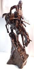 "Frederick Remington Mountain Man Sculpture 26"" Bronze Statue"