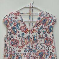 Loft Petites Womens Floral Print Dress Multicolor XSP