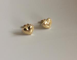 Brand New 9ct Gold beaded heart stud earrings - boxed - girls - womens