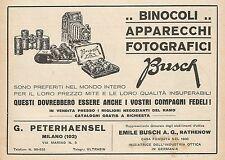 Z0829 Binocoli e Apparecchi Fotografici BUSCH - Pubblicità del 1929 - Advertis.