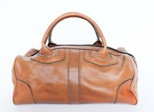 Vintage Holdall Bag Tan Brown Leather 1970s Medium