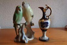 2 x Royal Dux Porzellan Wellensittiche und Kanne Böhmen