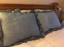 Ralph Lauren Blue Denim Standard Ruffled Pillow Sham Shams Usa Set 2 ruffle