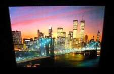 Vintage Light and Motion New York City Skyline (Twin Towers) Wood Picture Frame