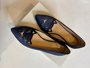 Charlotte Olympia Womens Suede Kitty Low Heel Ballet Flats Navy