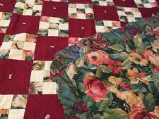 Sweet Baby Quilt Comforter Country Patchwork Floral w/ Ruffle Burgundy Cotton