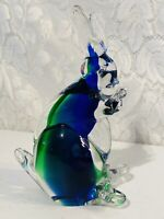 "Blue Green Clear Art Glass Bunny Rabbit Statue Figure Murano Italy 7.5"""