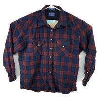 Pendleton Mens XL Blue Red Pearl Snap Western 100% Wool Shirt