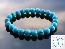 """Azul Turquesa Pulsera con cuentas de piedras preciosas 7-8"""" Elástico Curación Chakra"""