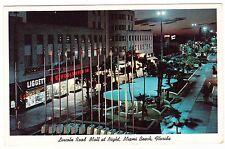 LINCOLN ROAD MALL AT NIGHT---------MIAMI FLORIDA----------- POSTCARD