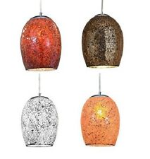 SEARCHLIGHT CRACKLE CEILING LIGHT PENDANT CHROME FINISH WITH MOSAIC GLASS SHADE