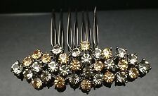 Formal Bridal Wedding Grey Black Brown Crystal Hair Large Comb Clip Pin 7.6cm